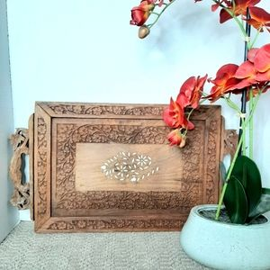 Vintage Boho Hand Carved Wooden Tray